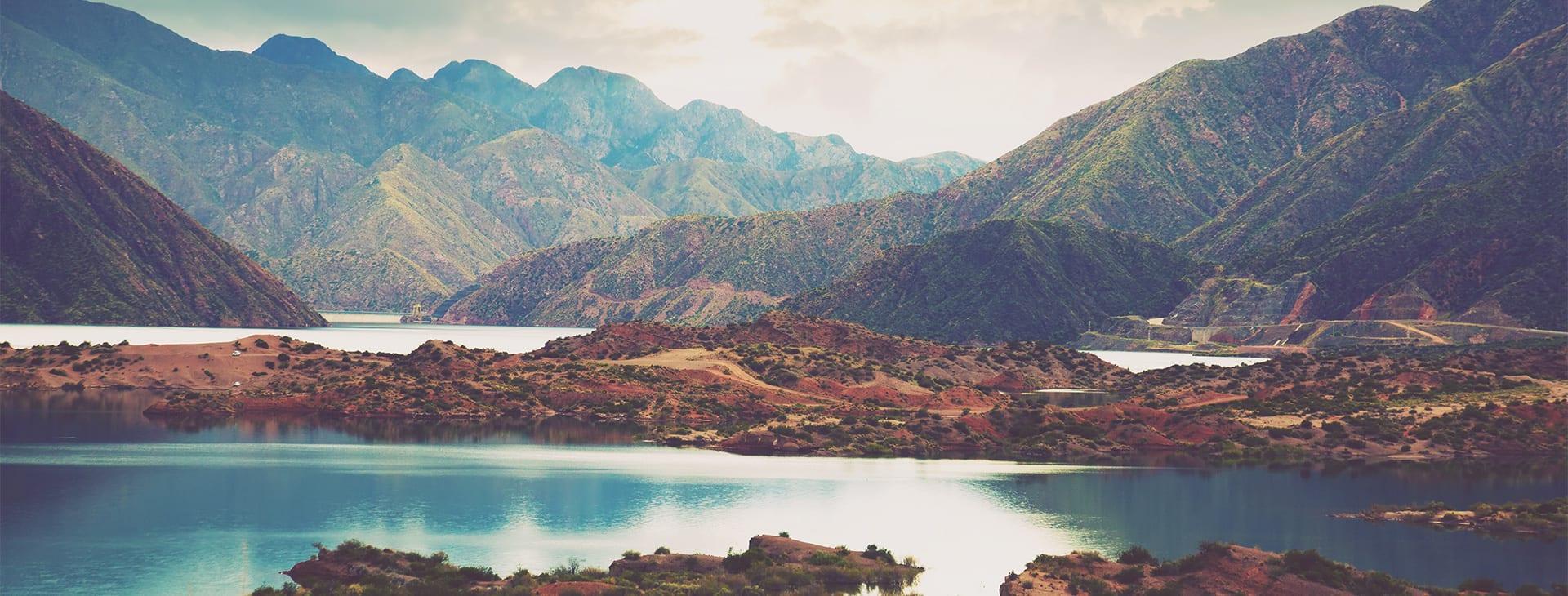 Lake and Mountain View Mendoza Argentina