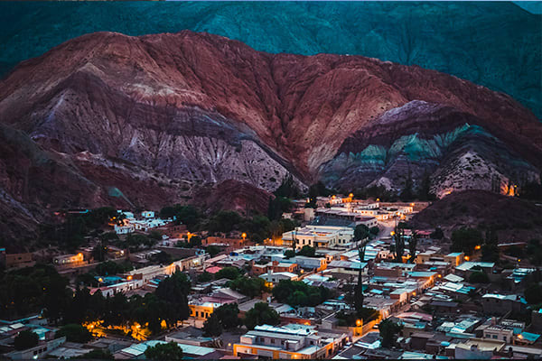 Purmamarca Argentina Town and Mountains