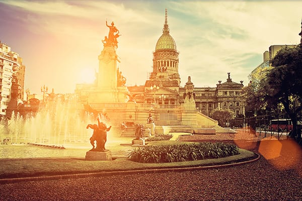 Afternoon Fountain Sunset Buenos Aires