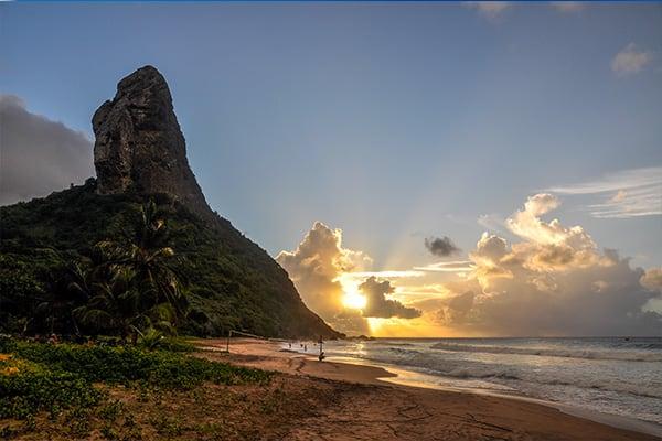 Sunset beach rocks