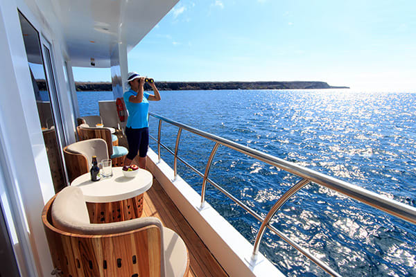 enjoying views from balcony galapagos