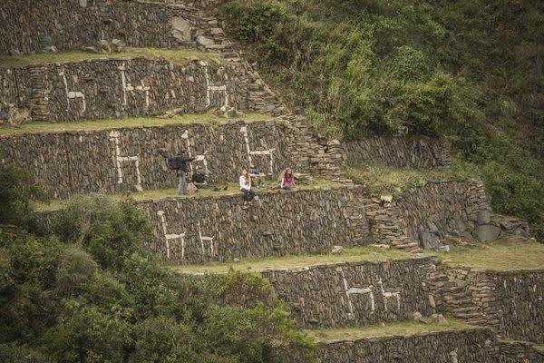 Ruins of Choquequirao with Llama stonework
