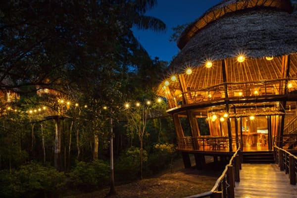main dining cabin at night treehouse lodge