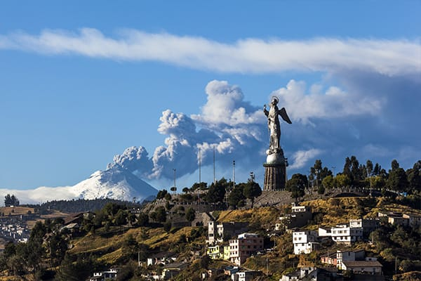 Quito with Cotopaxi erupting in background