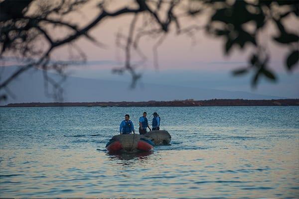 Panga ride in the bay galapagos