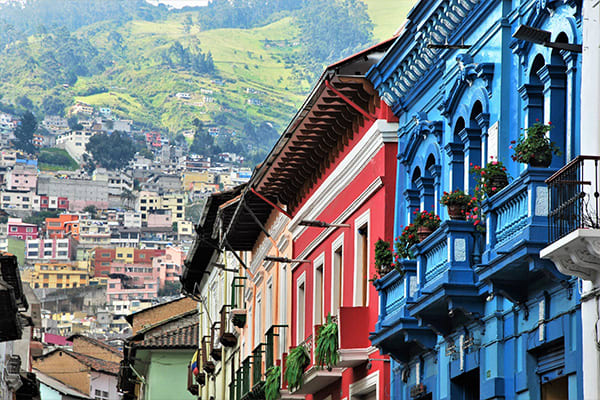 Colorful colonial houses in Quito
