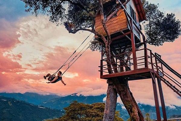 Man swinging from tree swing banos
