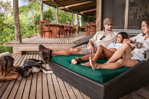 Family lounging at safari camp