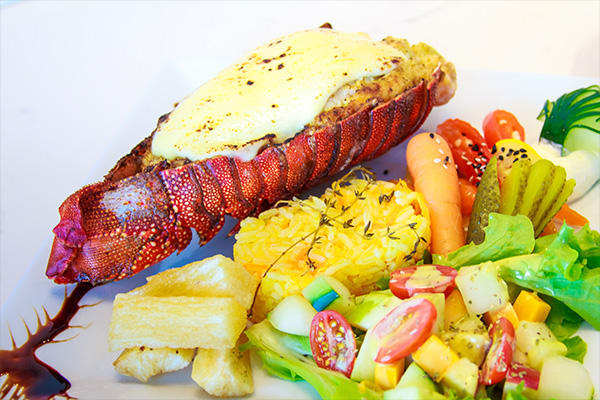 lobster and vegetables meal elite galapagos