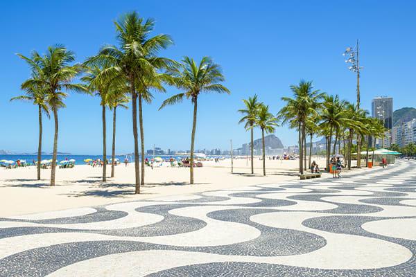 Rio Beach with palm trees