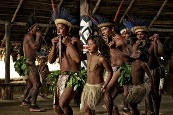 Native Brazilians dancing