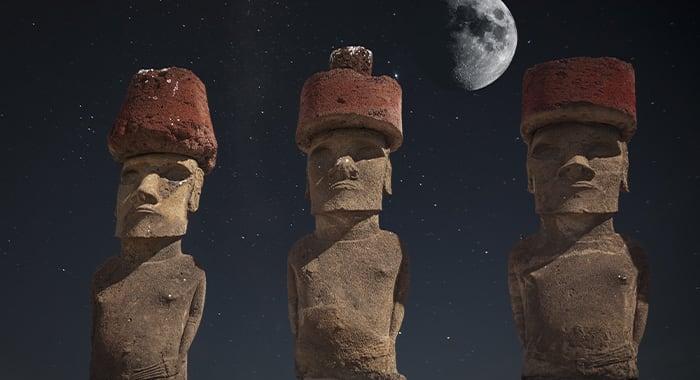 Moai Easter Island under Moon