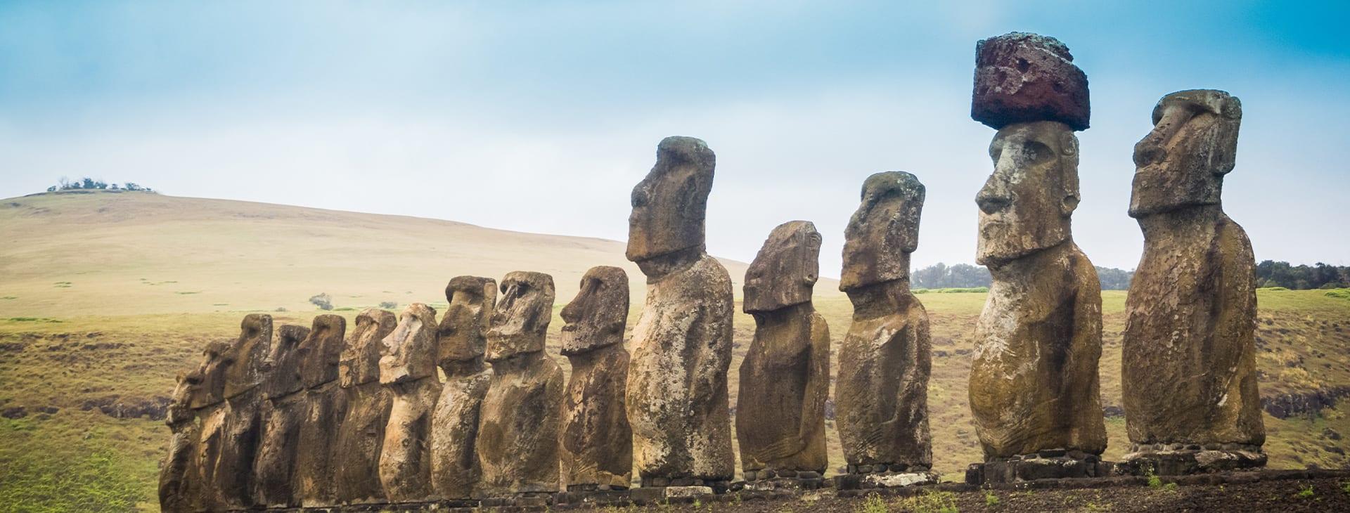 Moai Lined up Easter Island
