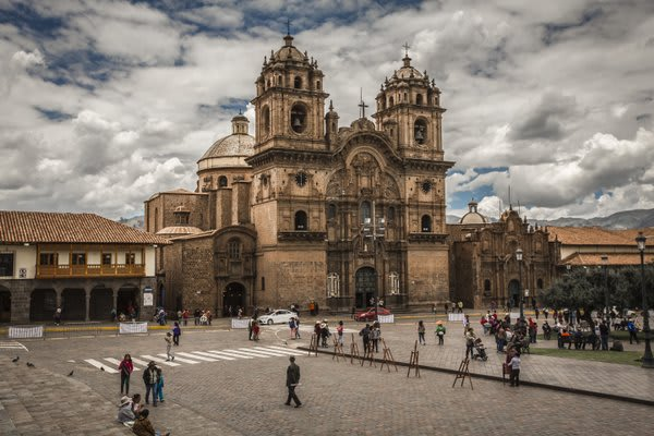 Cusco Main Plaza With Cathedral