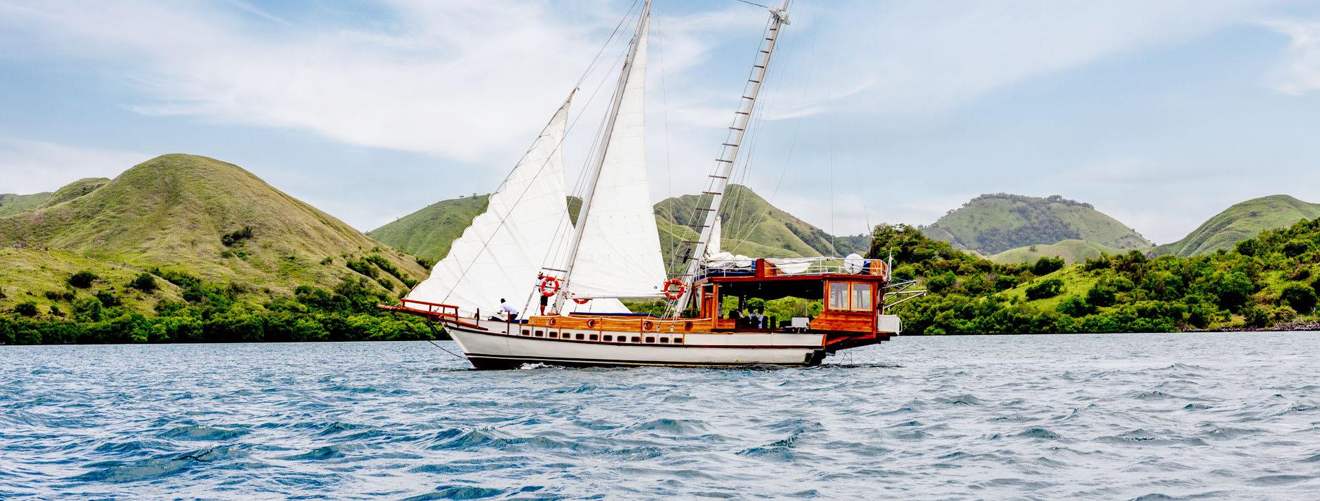 Small sailing boat at sea