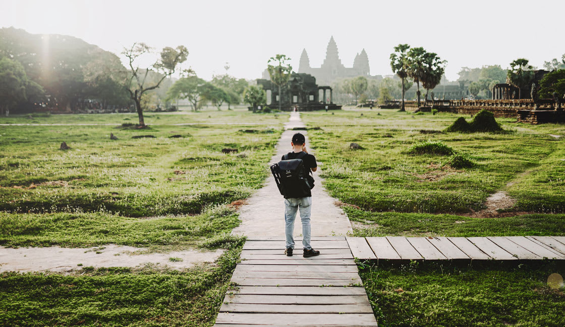 tourist at temple complex