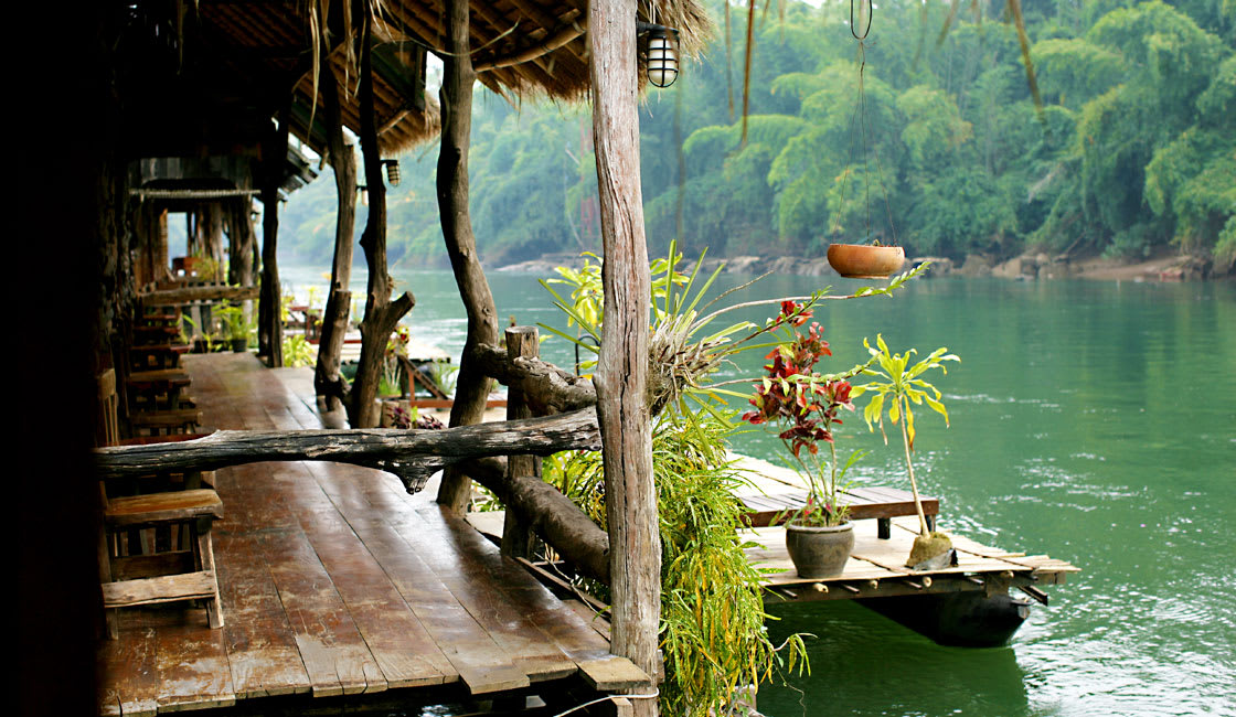rustic terrance on the river shore