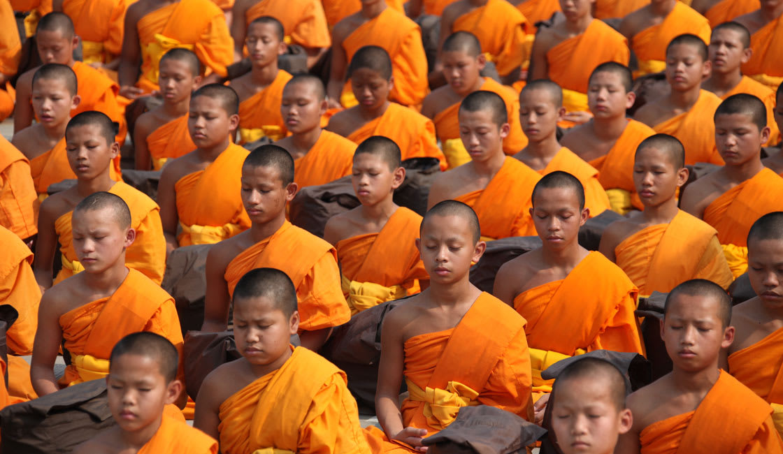 line of monks in cambodia