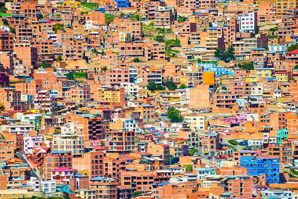 Buildings on Cliffside La Paz Bolivia