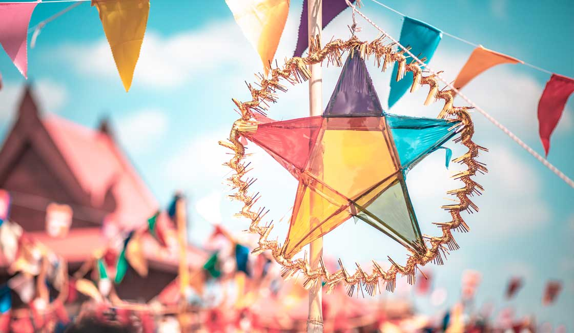 Colorful star hung up for Khmer New Year