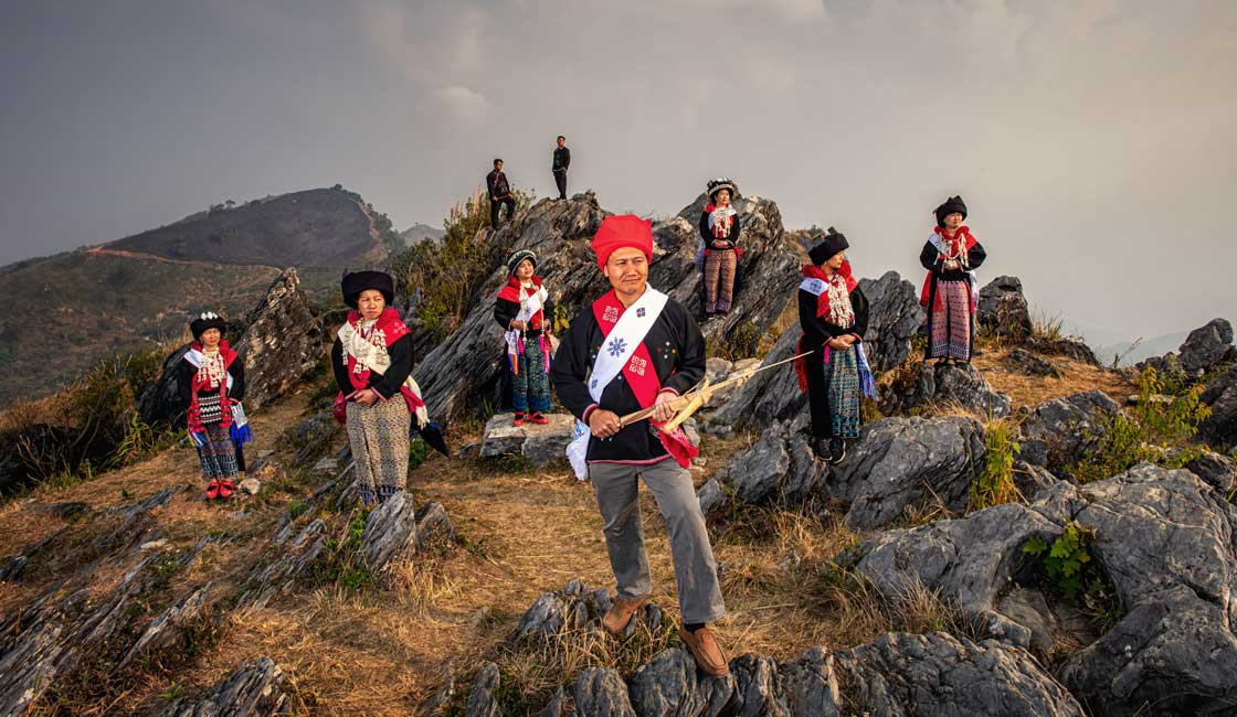 Ethnic group members on a hill