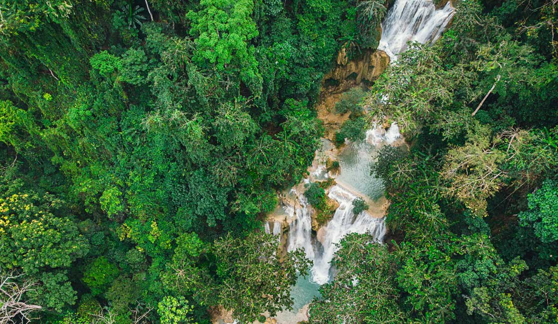 Waterfall in the jungle from above