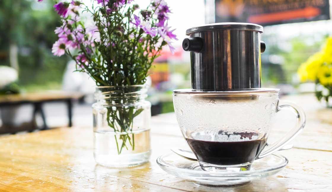 Coffee drip on a coffee cup