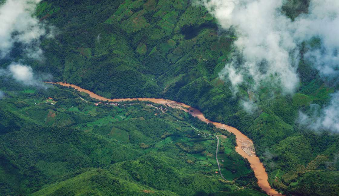Aerial view of the Mekong in Laos