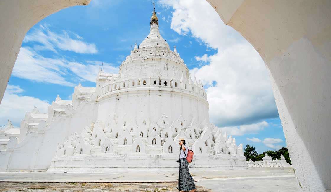 White temple and a young woman