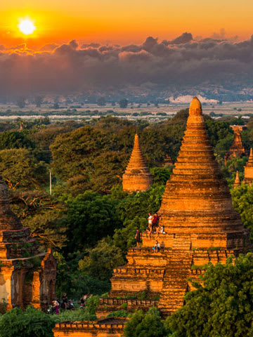 Temples in Myanmar at sunset