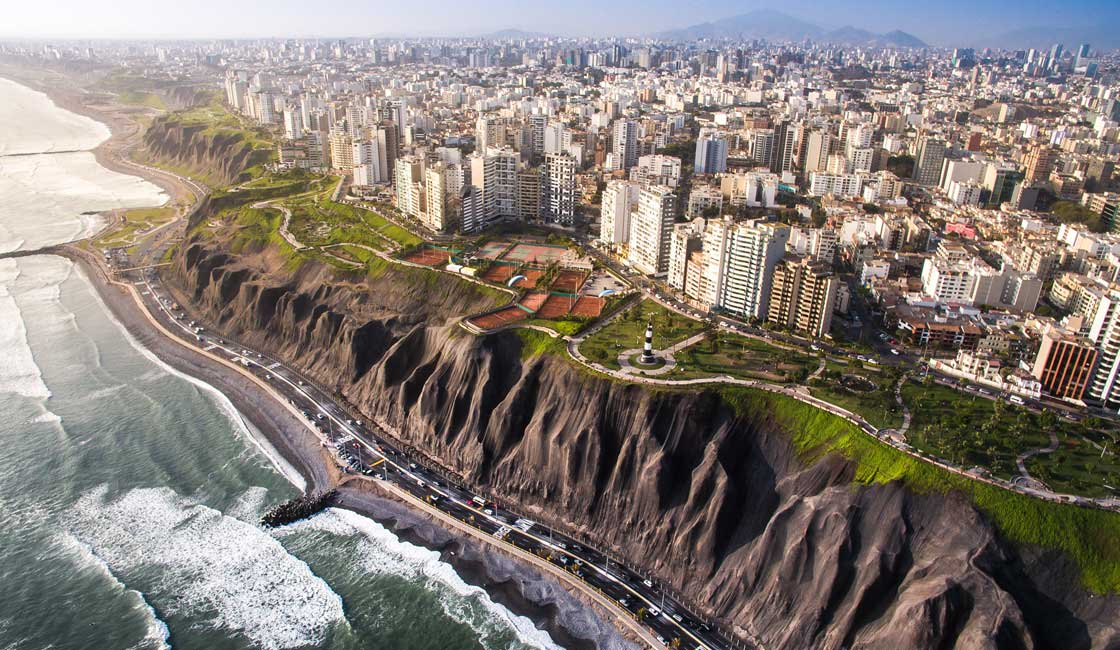 Aerial view of Lima's coast