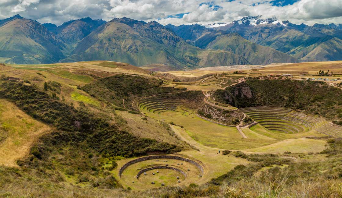 Sacred circles in the grass in the foreground with the Andes in the background