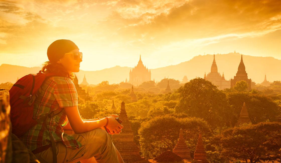 Young female traveler looking at Bagan temples