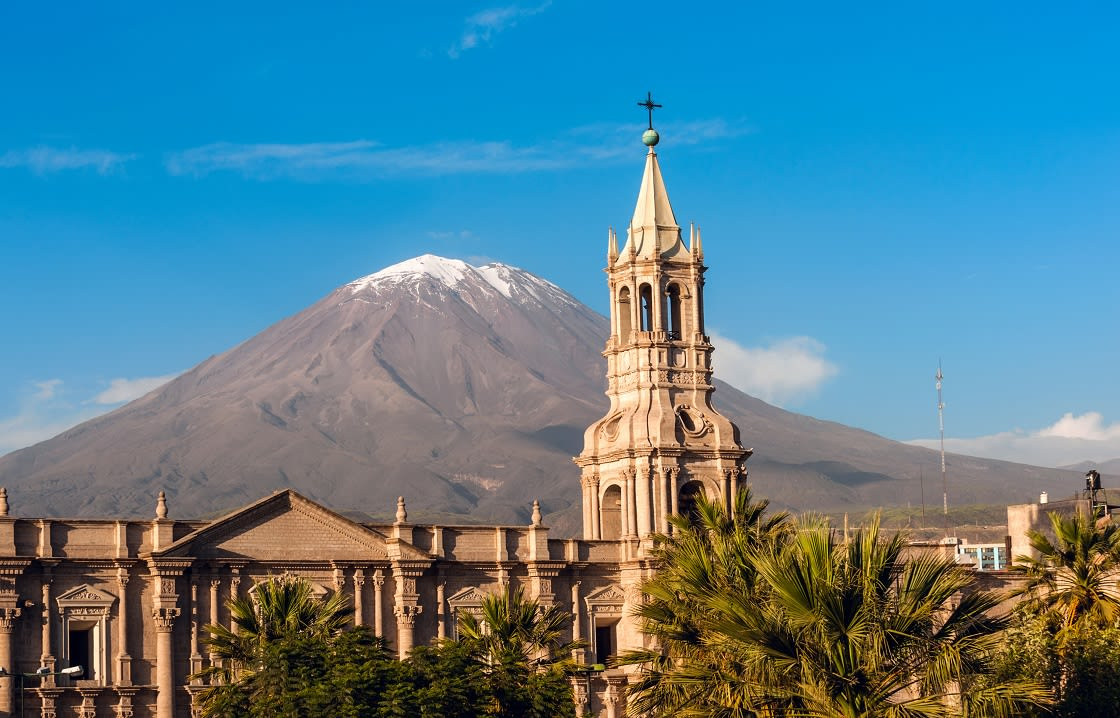 Misti Volcano And Arequipa Cathedral