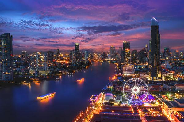 Bangkok aerial view at night