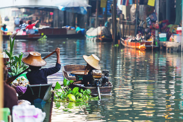 Boats in the floating market
