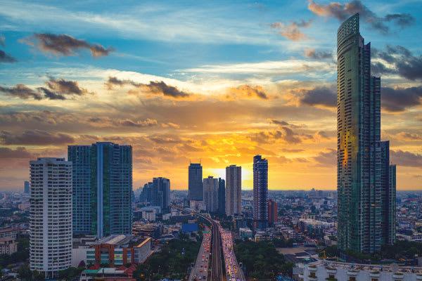 Streets in Bangkok at dusk