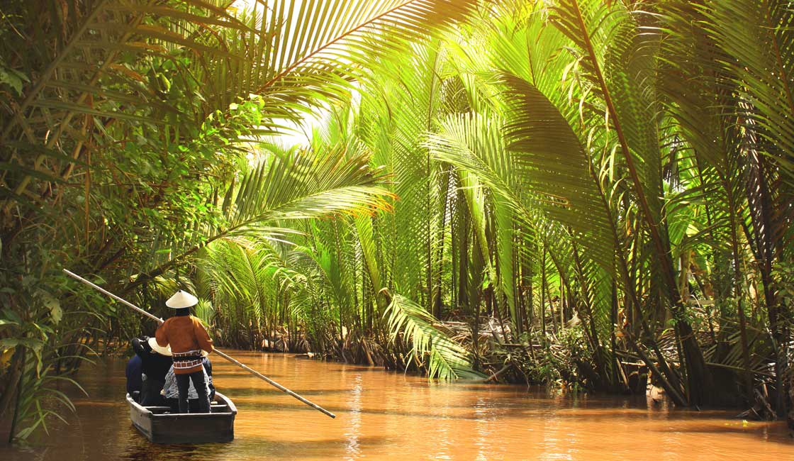 Sampan in the Mekong Delta canal
