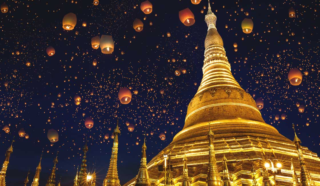 Lanterns at night at Shwedagon Pagoda