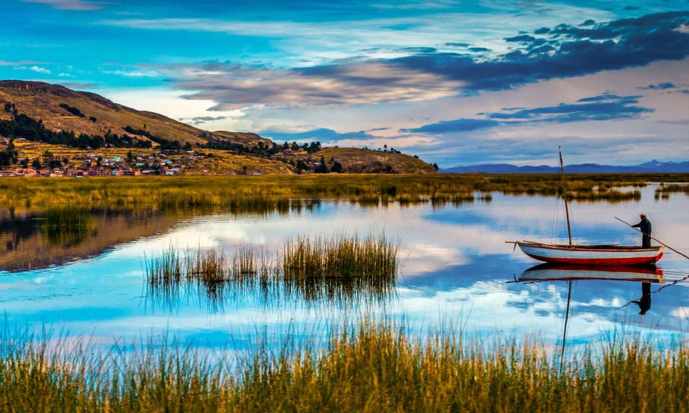 Blue waters of Peru's lake titicaca