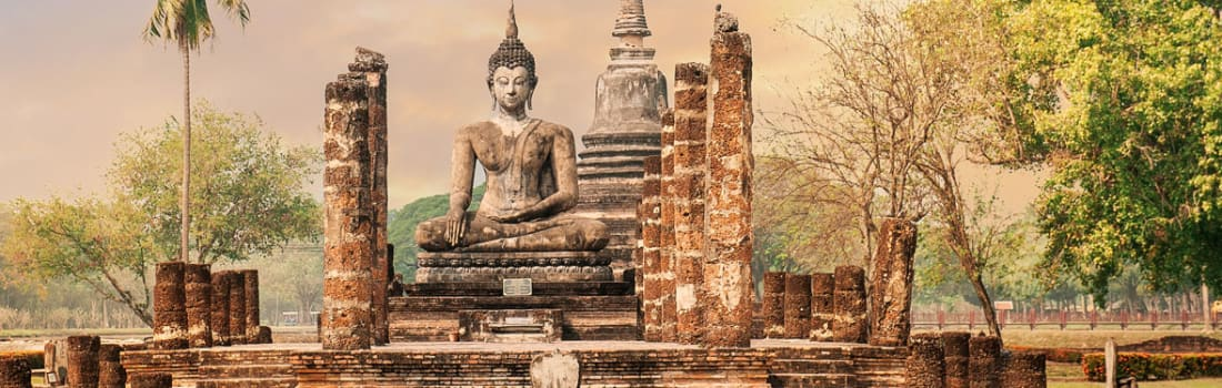 Buddha in the ancient city ruins