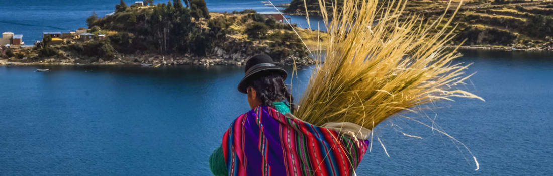 A woman wearing colorful clothes carrying a sack with long grass on her back
