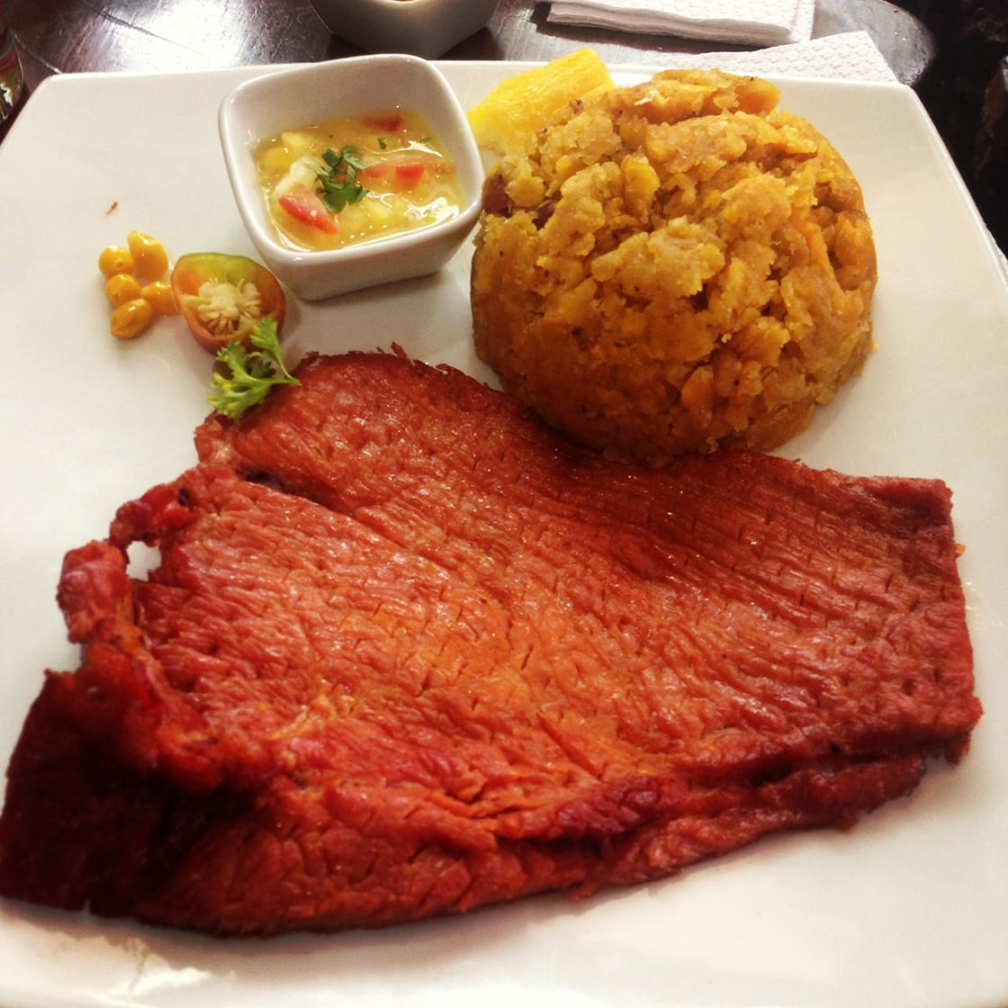 The Traditional Amazonian Dish Of Cecina And Tacacho