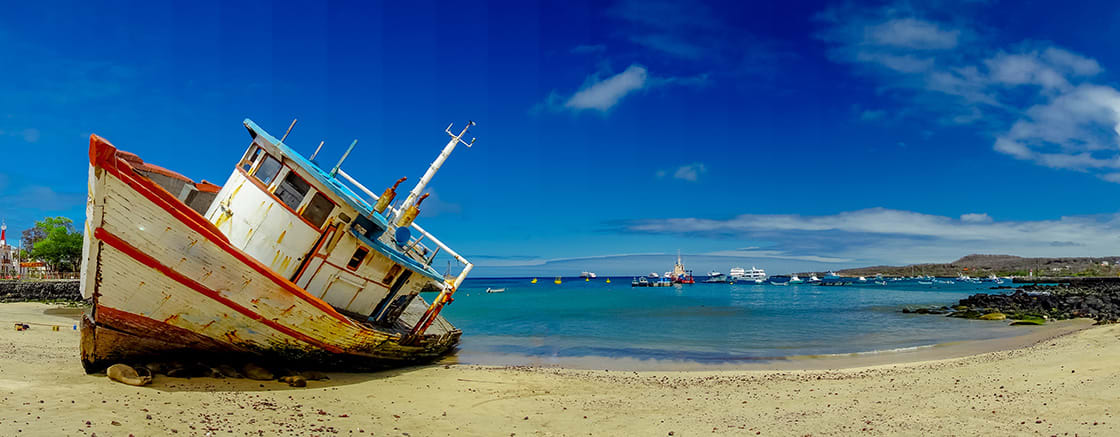 Panoramic View Of Old Boats In San Cristobal Island, Galapagos