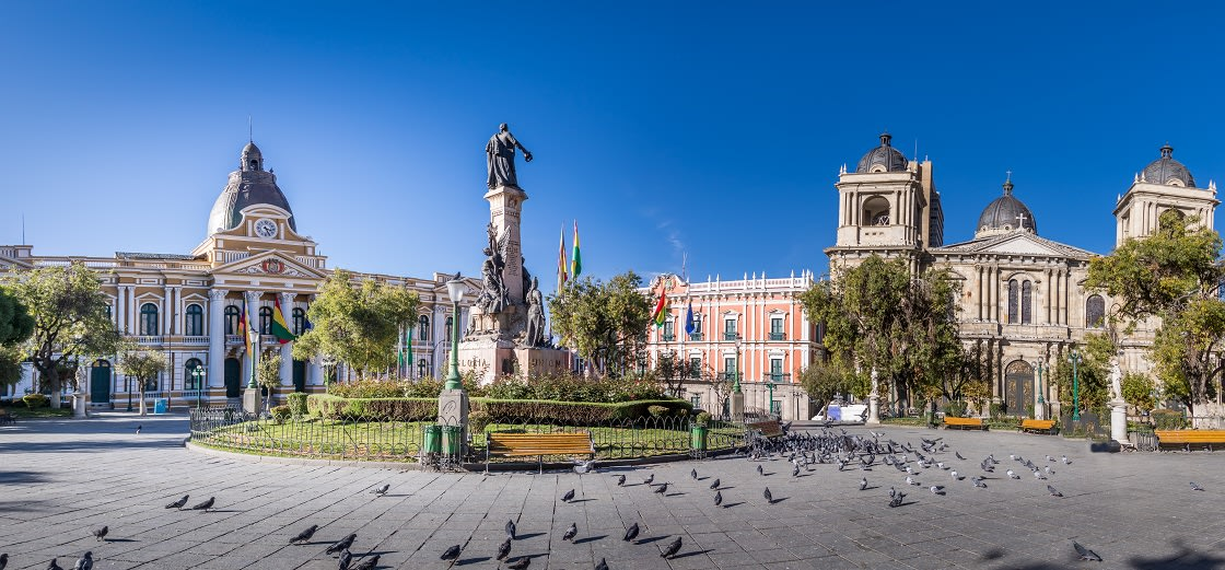 Plaza Murillo, Bolivian Palace Of Government And Metropolitan Cathedral