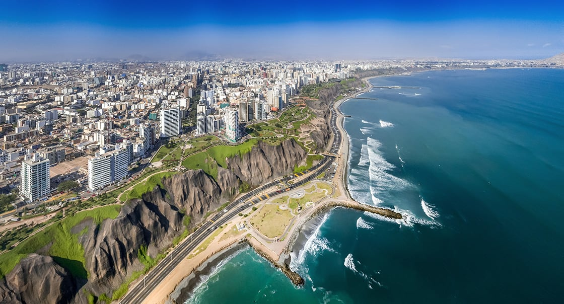 Lima,,Peru:,Aerial,View,Of,Miraflores,Town,,Cliff,And,The