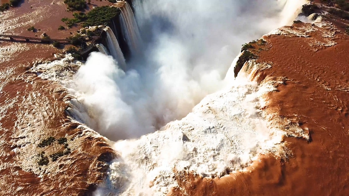 Aerial,View,Of,The,Iguazu,Falls.,View,Over,The,Catarata