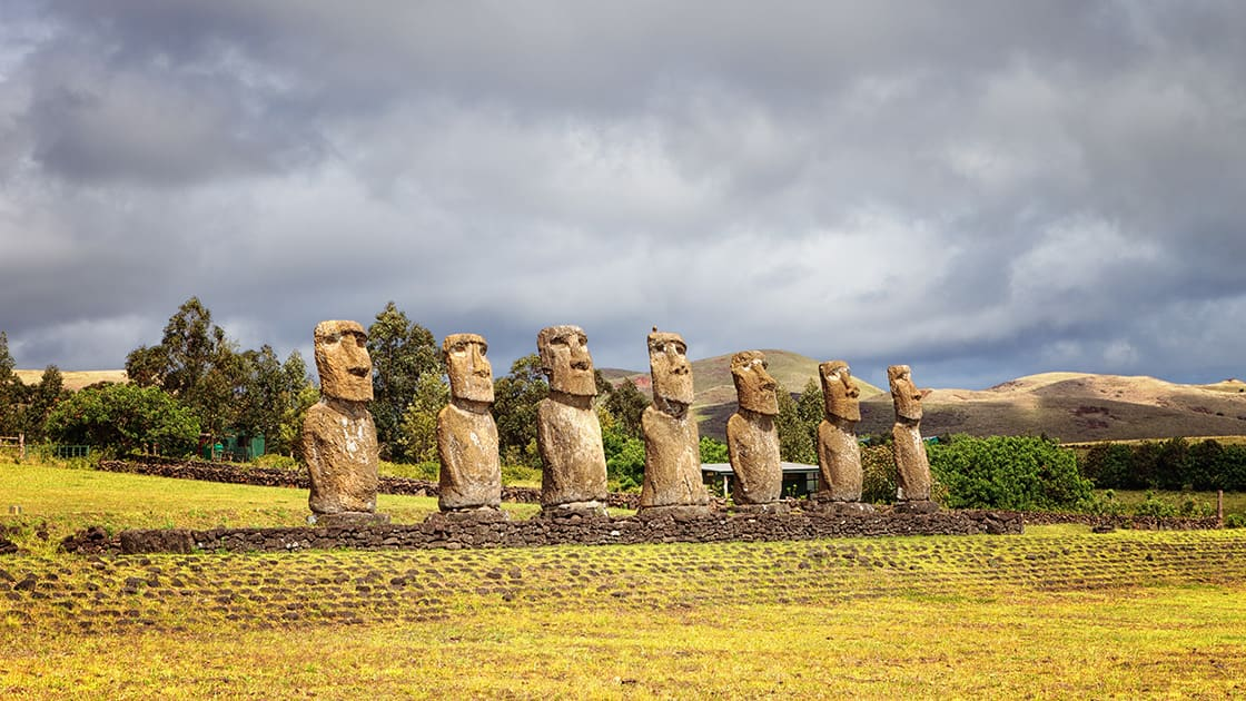 stone statues at easter island