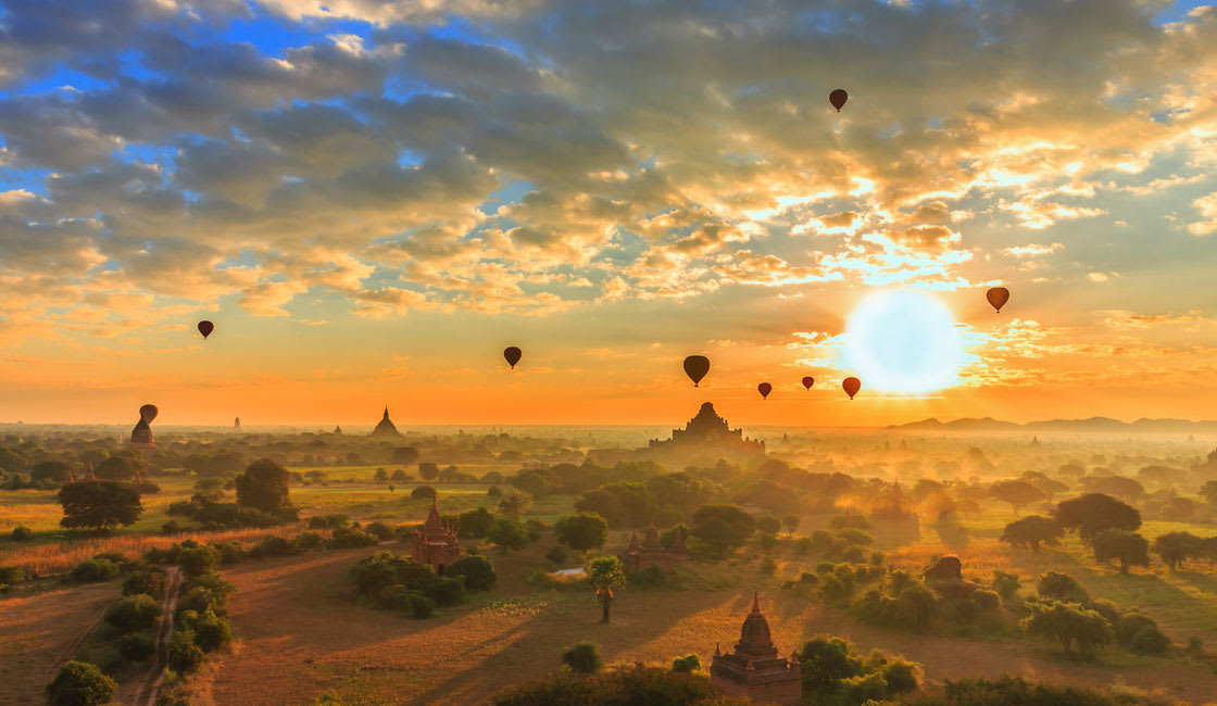 View from Hot air balloons in Myanmar