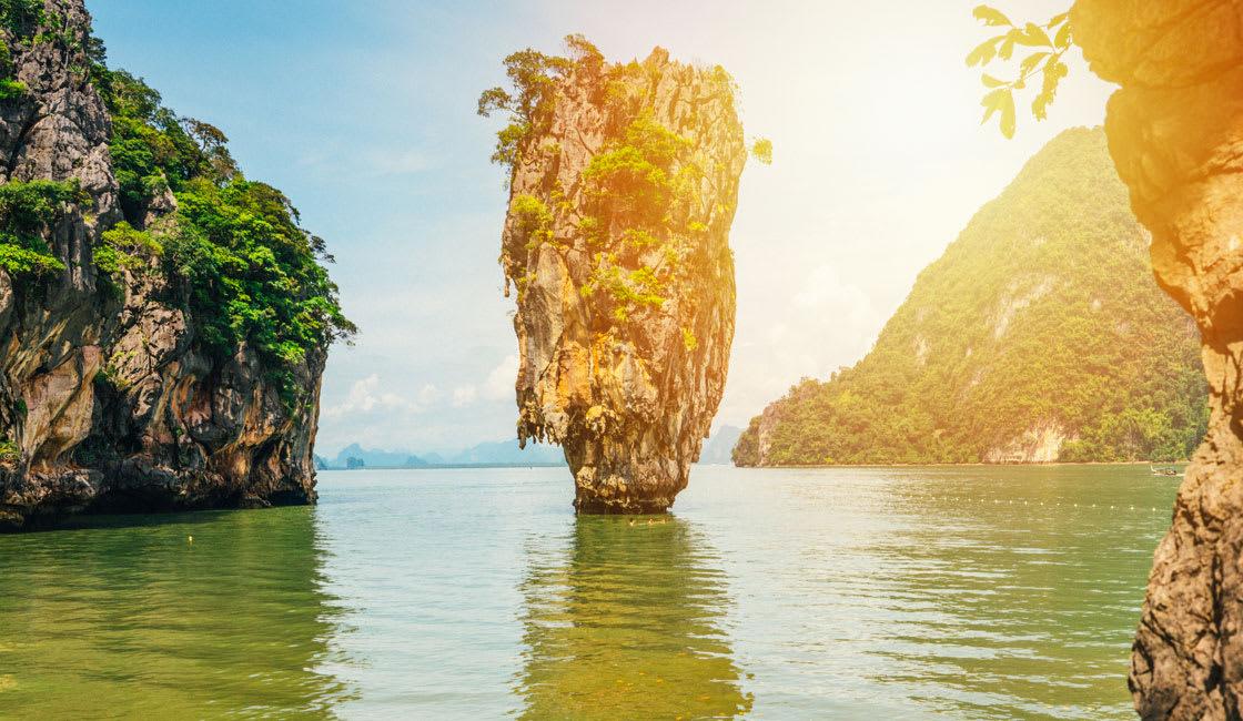 Calm hidden sea caves in Phang Nga Bay